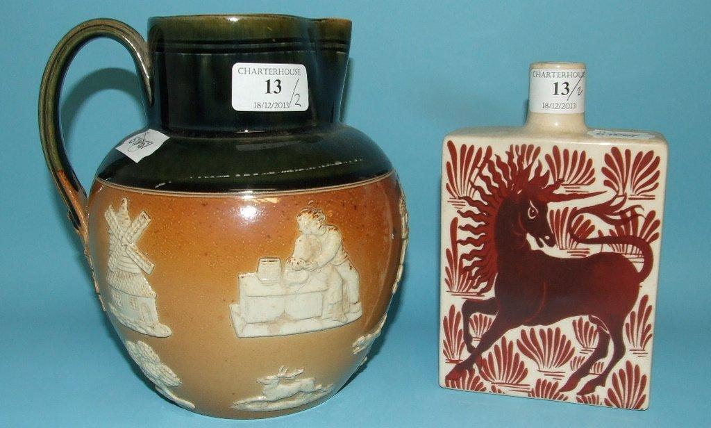 A Royal Doulton stoneware jug, 18.5 cm high, and a vase