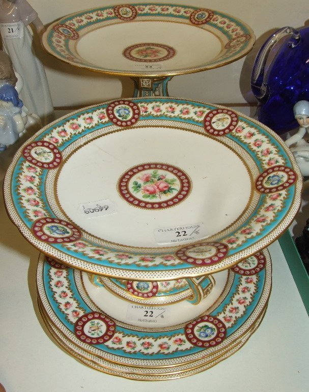 A Minton part dessert service, decorated flowers and
