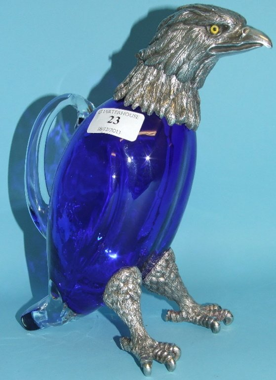 A blue and clear glass claret jug, in the form of an