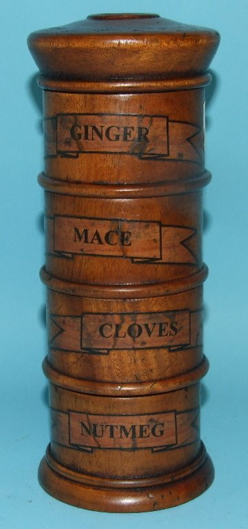 A four section spice tower, 20.5 cm high