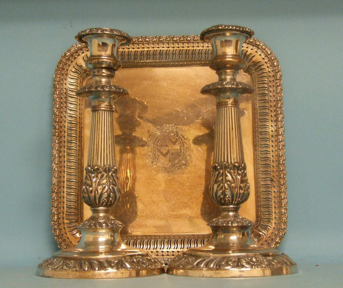 A silver plated salver, crested, a pair of silver