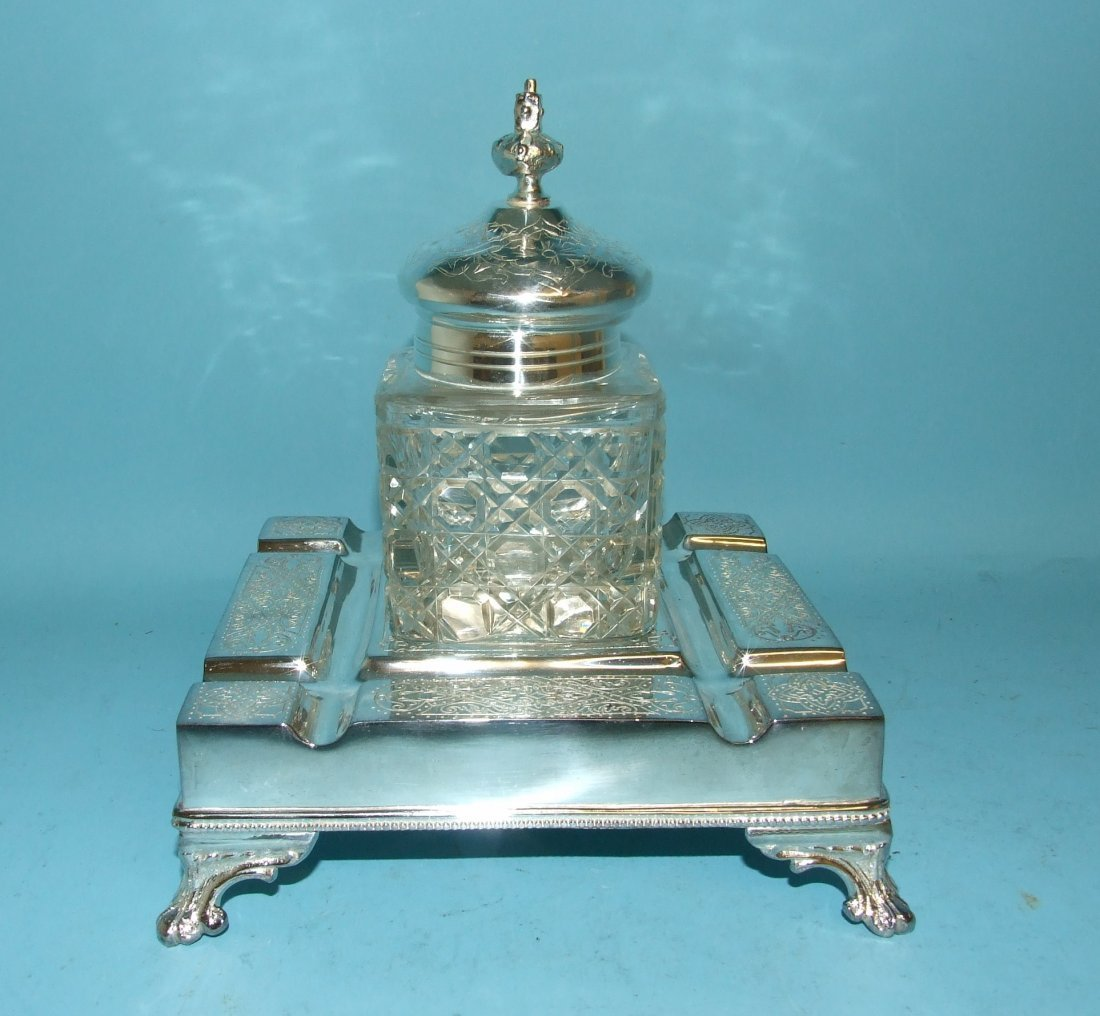 A silver plated inkstand, 17 cm wide