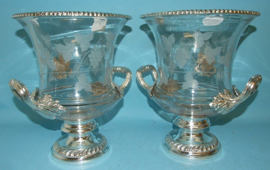 A pair of glass and silver plated wine coolers, 28 cm