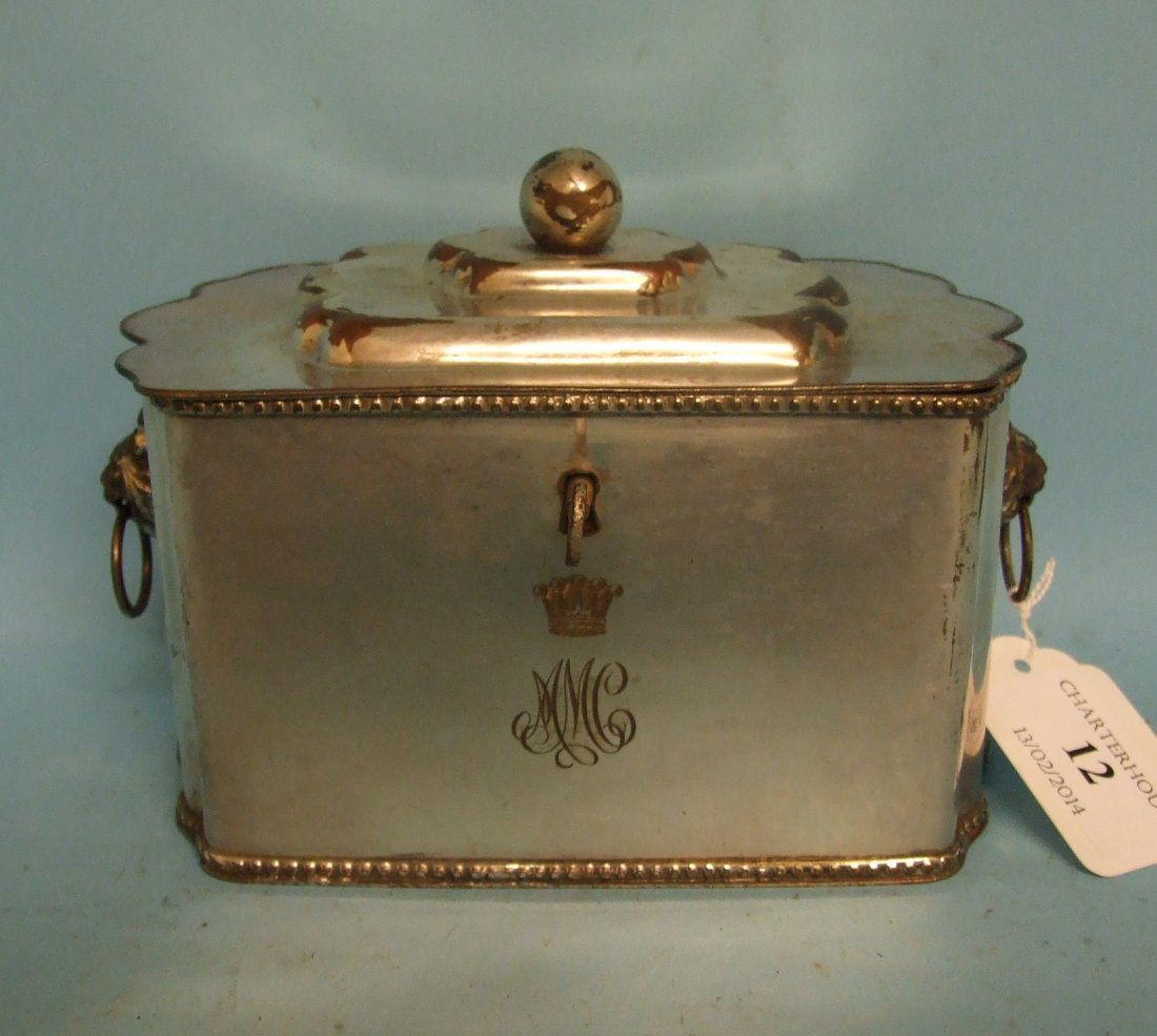 A silver plated tea caddy, 14 cm wide