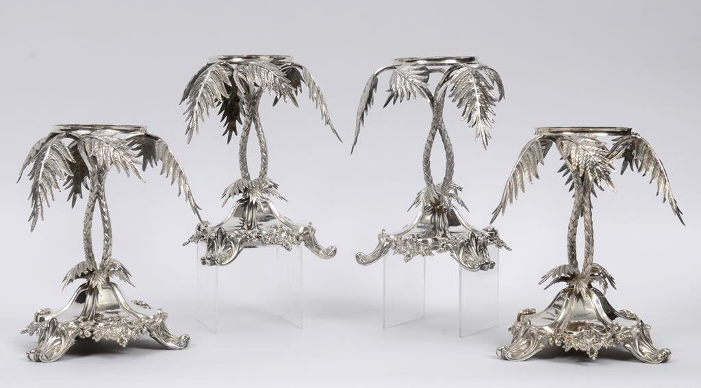 A set of four Victorian silver plated centrepieces, on