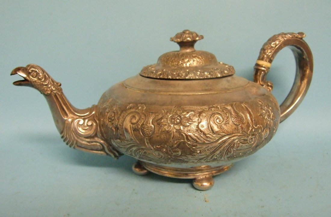 A silver plated three piece tea service, and a similar