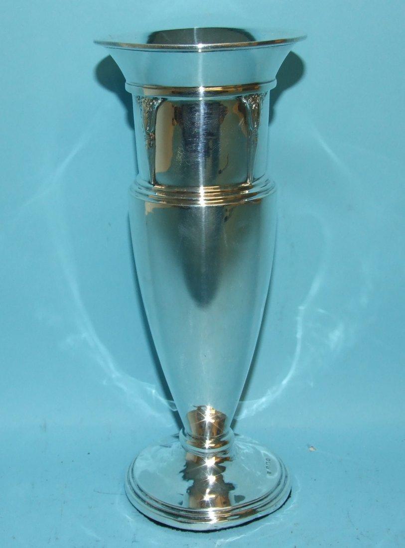 A silver vase, Birmingham 1933, 20.5 cm high (loaded),