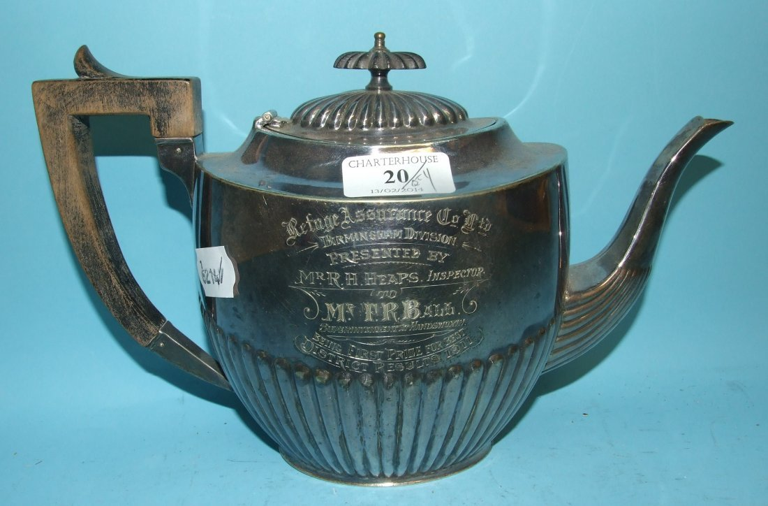 A silver plated teapot, and other plated items (3