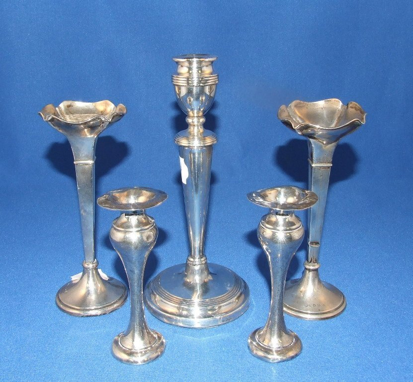 A pair of silver spill vases, Birmingham 1912, two