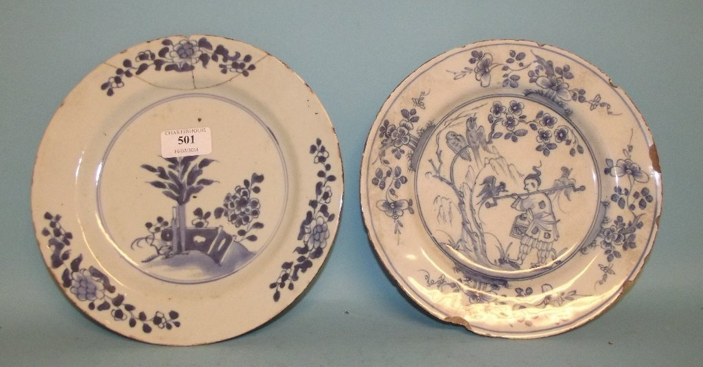 A tin glazed earthenware plate, decorated a figure and