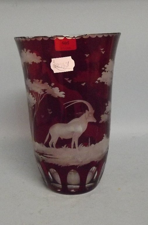 A ruby flashed glass vase, with etched decoration