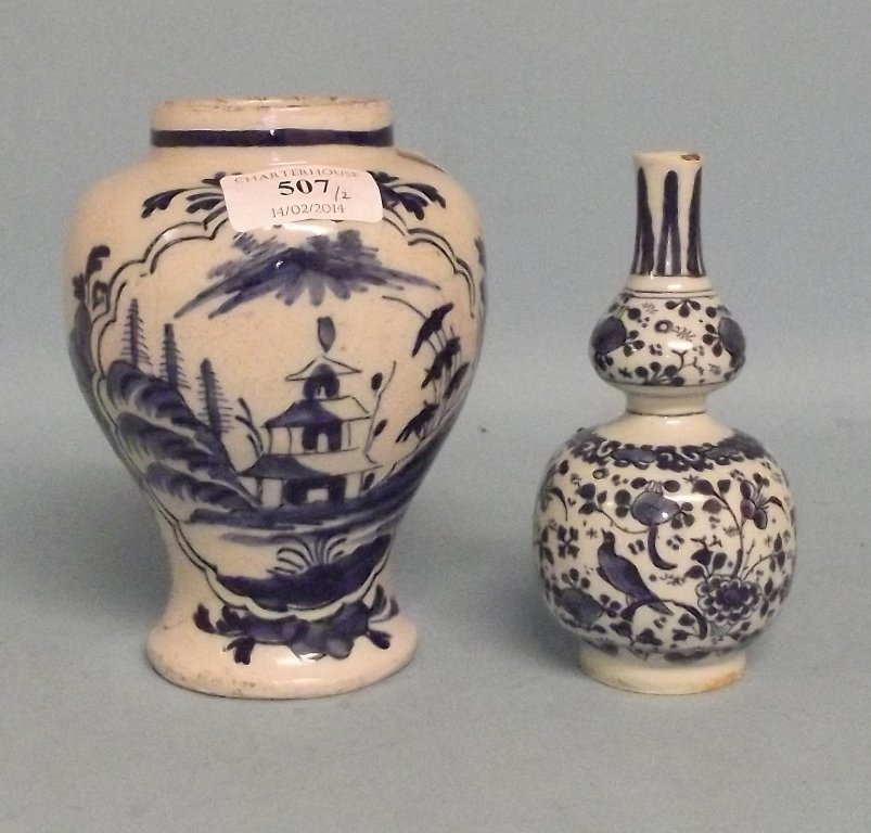 Two 19th century Delft vases, the tallest 16 cm high