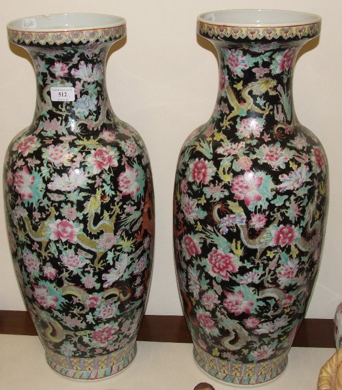 A pair of Chinese vases, 64 cm high (a.f.)