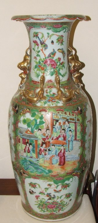 A large Cantonese famille rose floor vase, decorated