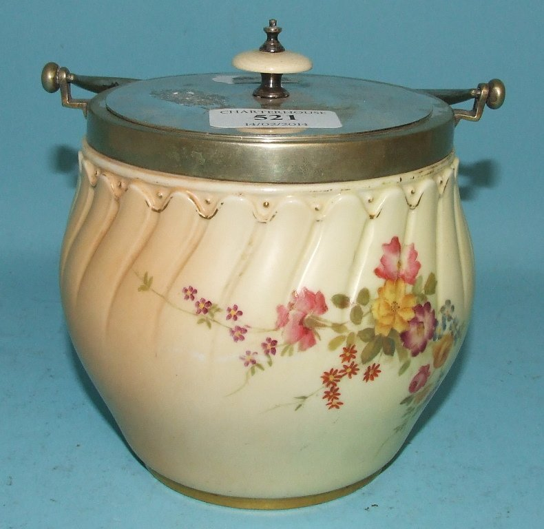A Royal Worcester biscuit barrel, decorated flowers, 15