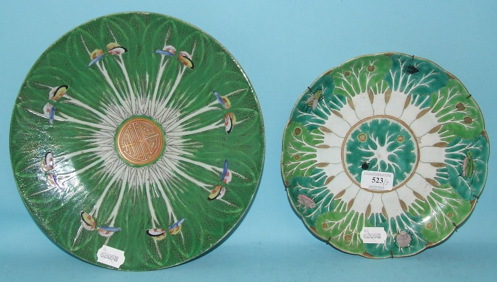 A Chinese famille verte plate, decorated insects and