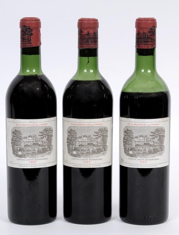 Three bottles of Chateau Lafite Rothschild 1965  See
