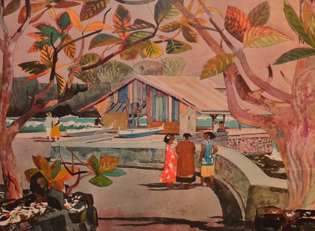 """Tahitian Village"" Lithograph by Millard Owen Sheets"