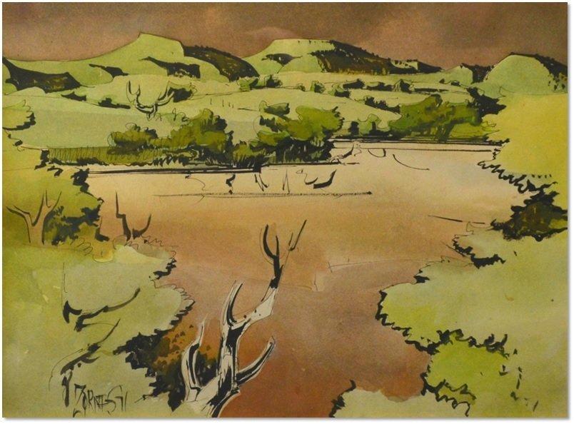 """Puddingstone"" by Milford Zornes"