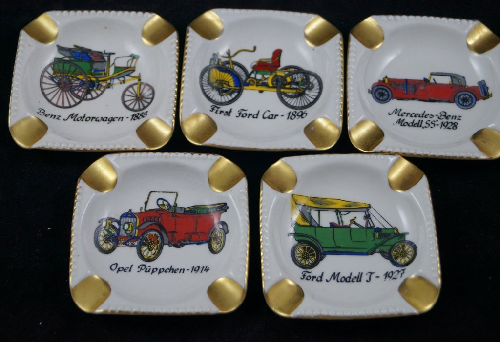 Germany Vintage Ashtrays, Antique Cars Ford LOT OF 5