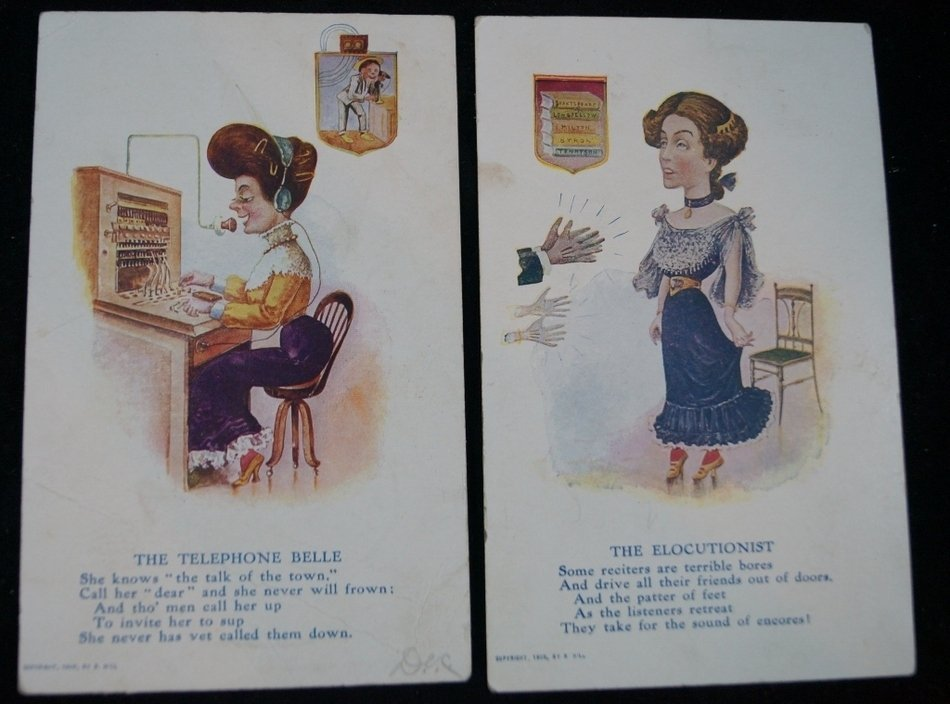 1905 Caricatures Postcards, Elocutionist & Telephone