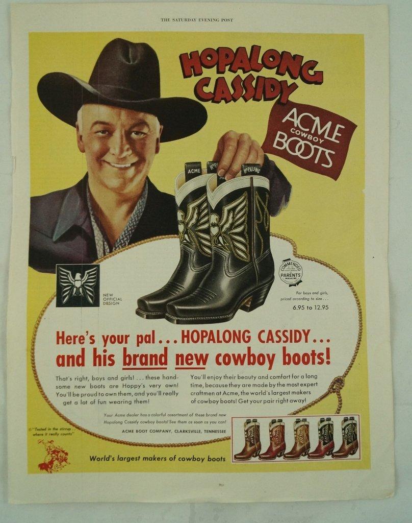 Hopalong Cassidy Acme Cowboy Boots Ad, Saturday Evening