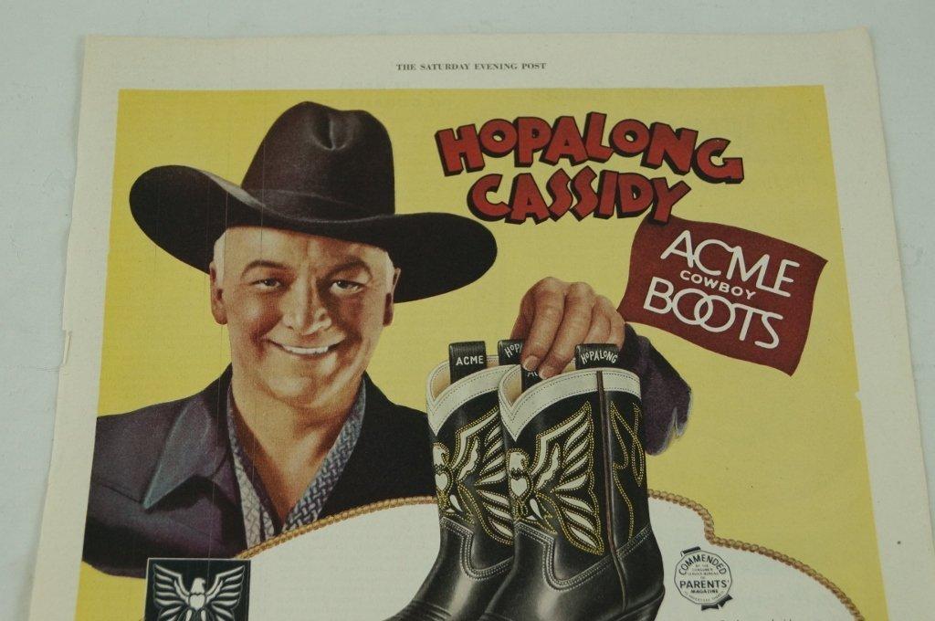 Hopalong Cassidy Acme Cowboy Boots Ad, Saturday Evening - 2
