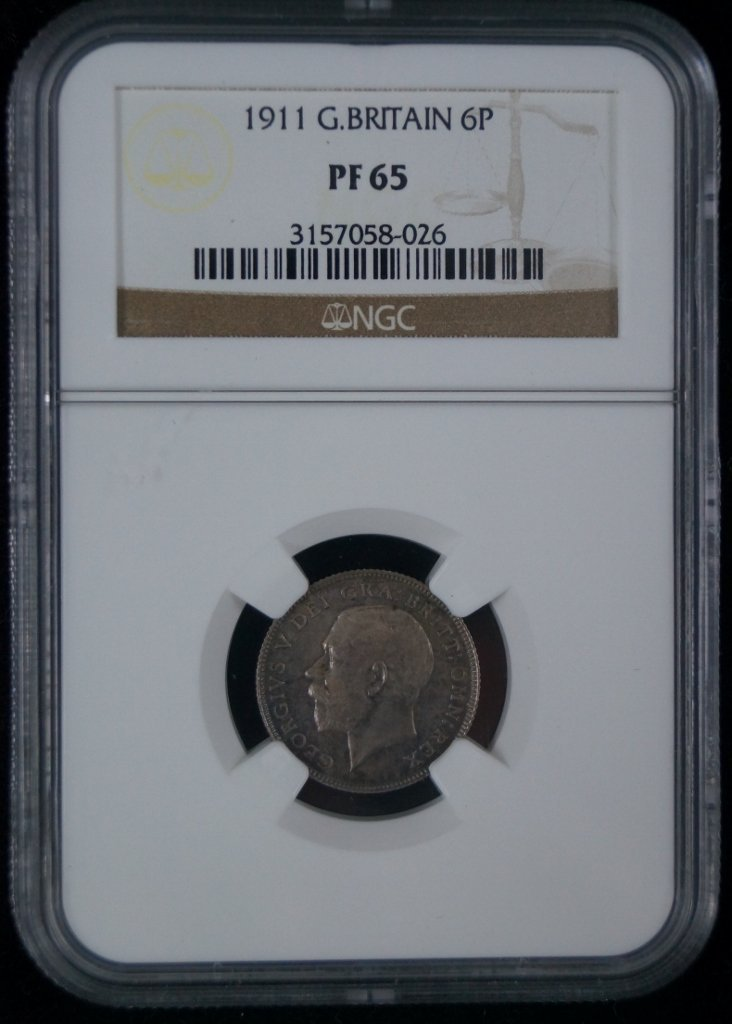 1911 Great Britain 6P Pence Graded NC PF65 Proof Coin