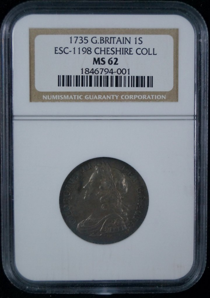 1735 Great Britain 1 Shilling NGC MS 62 Cheshire Collec
