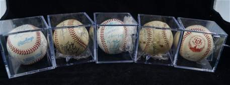 LOT of 5 Signed Team Baseballs Official Cincinnati Reds