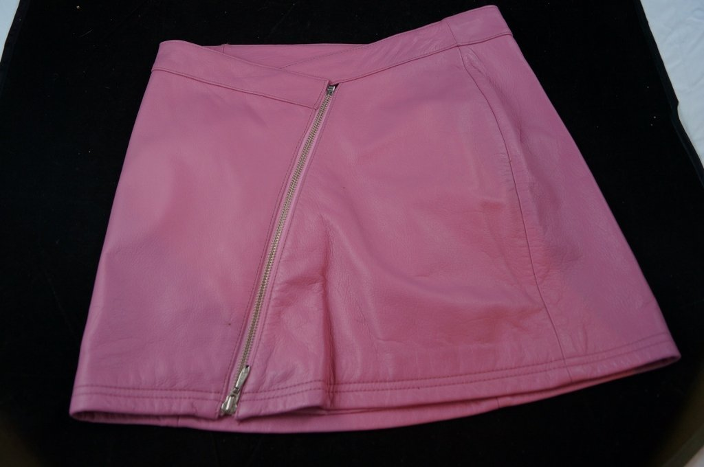 "Wilson Leather ""Maxima"" Pink Full Zipper Mini Skirt"