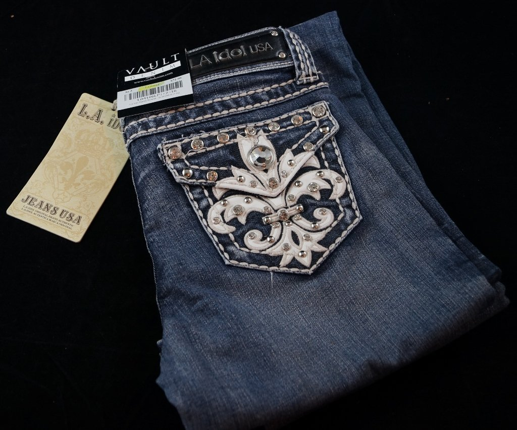 LA Idol USA Vault Denim Studded Jeans, Womans