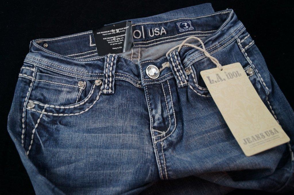 LA Idol USA Vault Denim Studded Jeans, Womans - 3