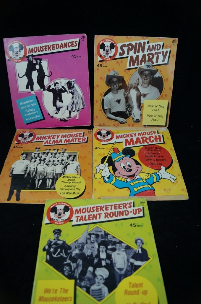 LOT of 5 Mickey Mouse Club Disney Records 45's