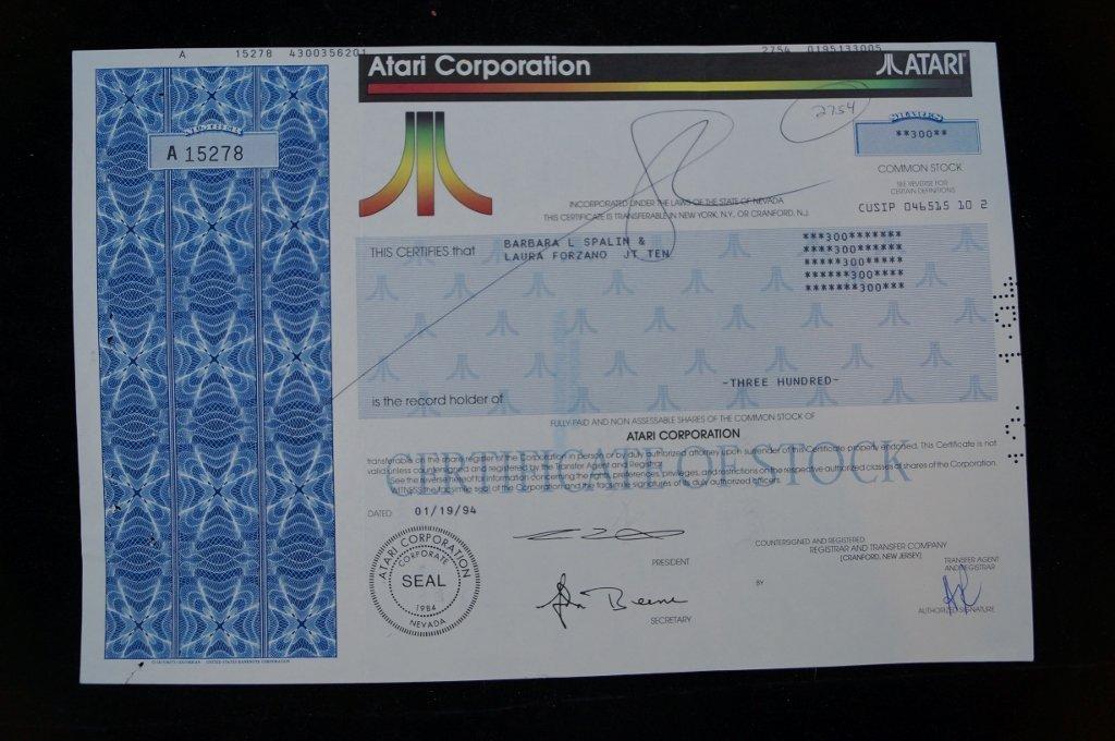 Atari Corporation Stock Certificate