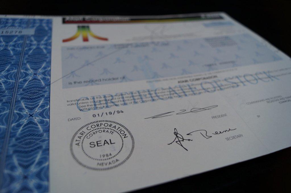 Atari Corp. Stock Certificate 300 Shares - 2