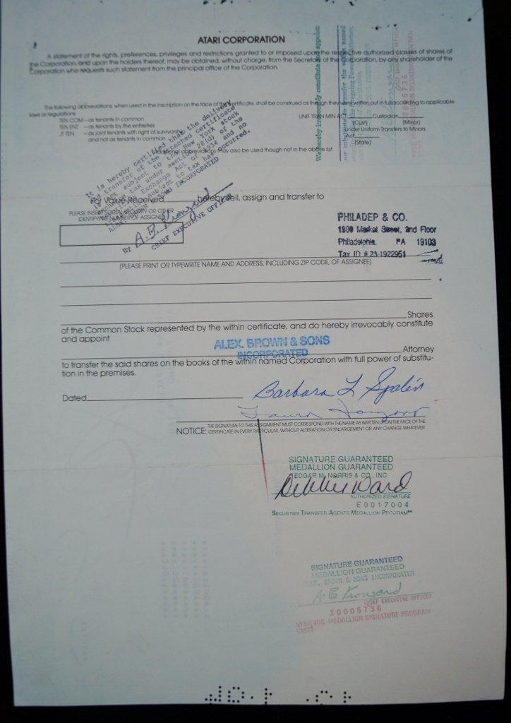 Atari Corp. Stock Certificate 300 Shares - 3