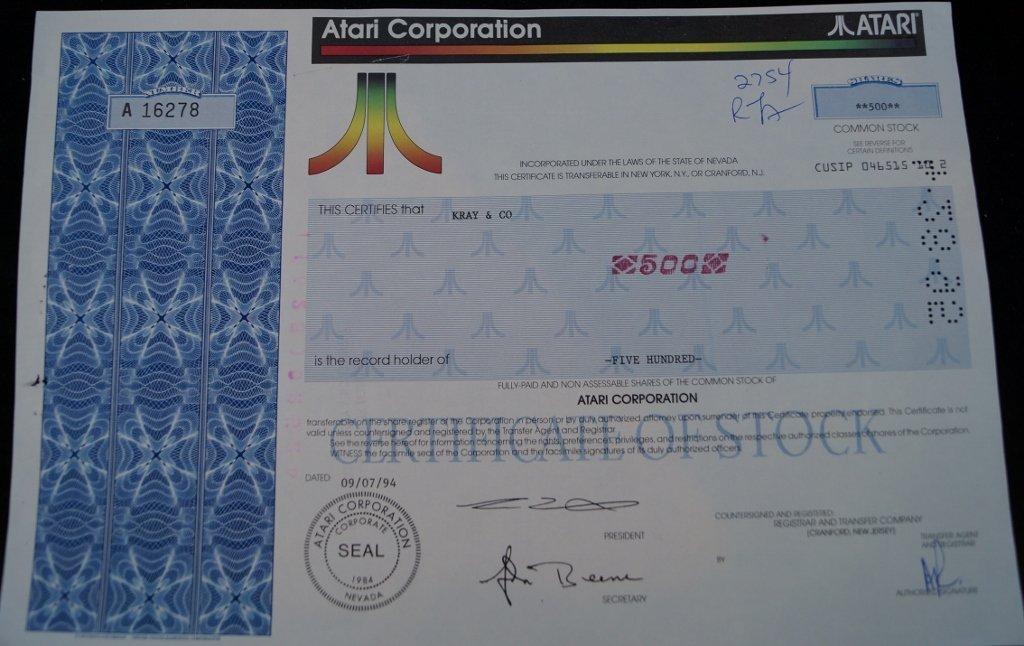 Official Atari Corp. Stock Certificate 500 Shares