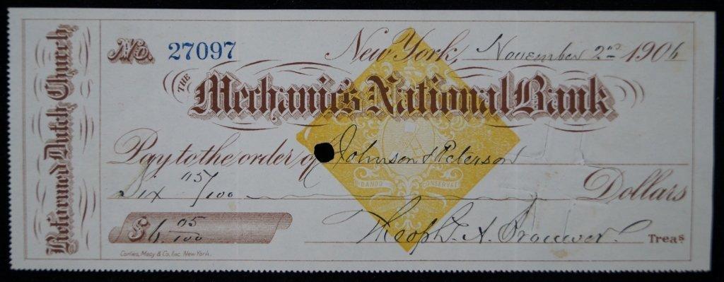 Reformed Dutch Church Antique Bank Draft 1906
