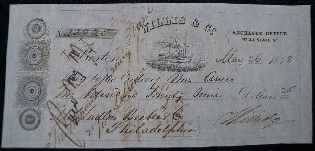 1848 Bank Draft Willis and Co., Boston, Exchange Office
