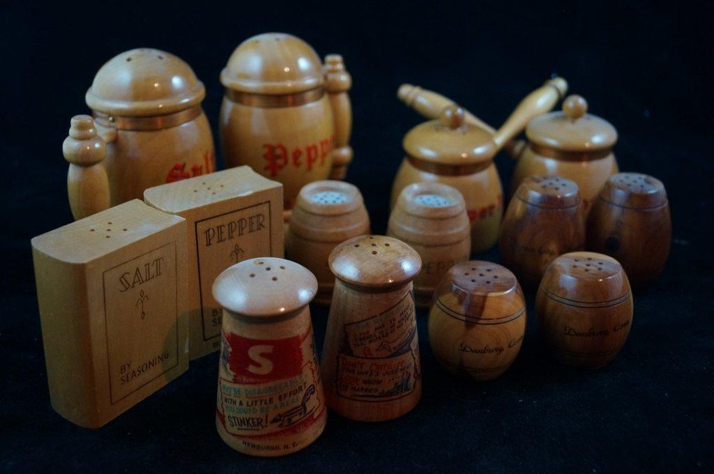 LOT of 7 Vintage Wooden Salt & Pepper Shakers