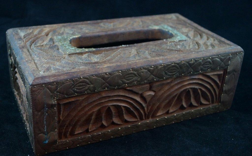Ornate Carved Wooden Kleenex Box Gold Gilt Tin
