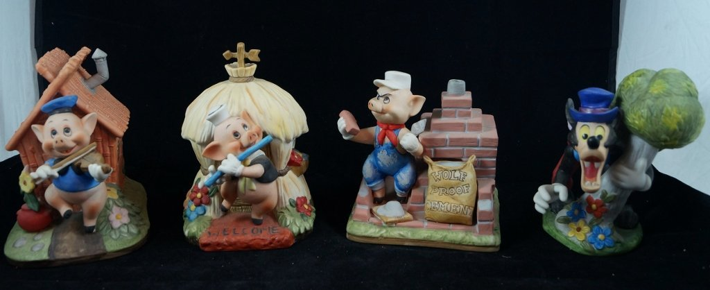 LOT Disney Charactor Music Boxes, 3 Little Pigs, Wolf
