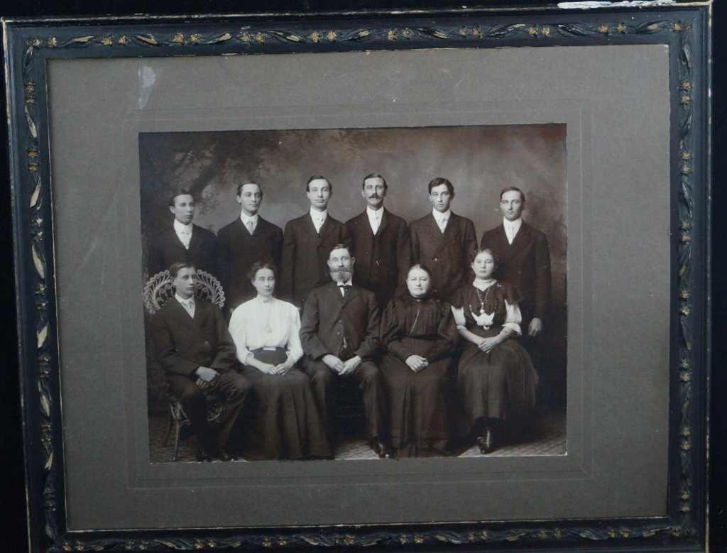 Antique Cabinet Black and White Card Photo of Family