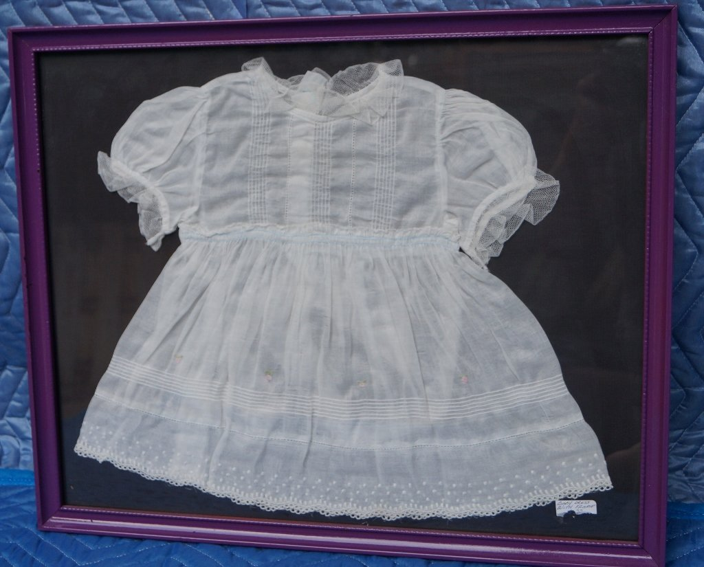 Antique Baby Dress Display in Frame