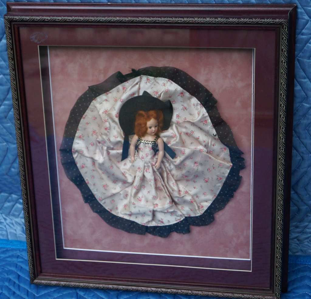 Baby Doll Antique Display, Shadow Box & Framed