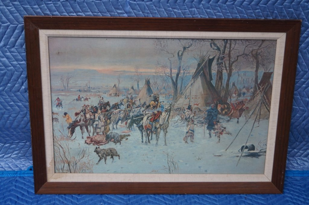 Vintage Charles Russell Native American Print Signed