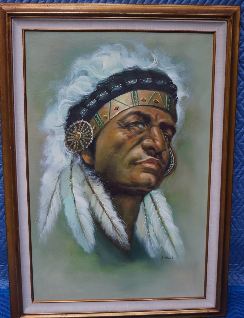S. Hills Original Oil On Canvas, Indian Chief Framed
