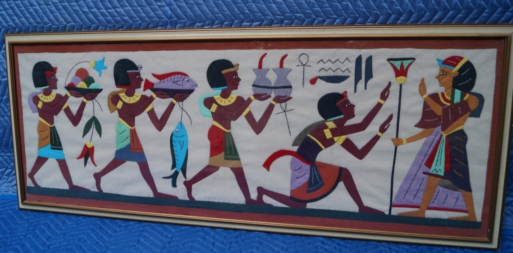 Vintage Egyptian Scene Fabric Textile Framed