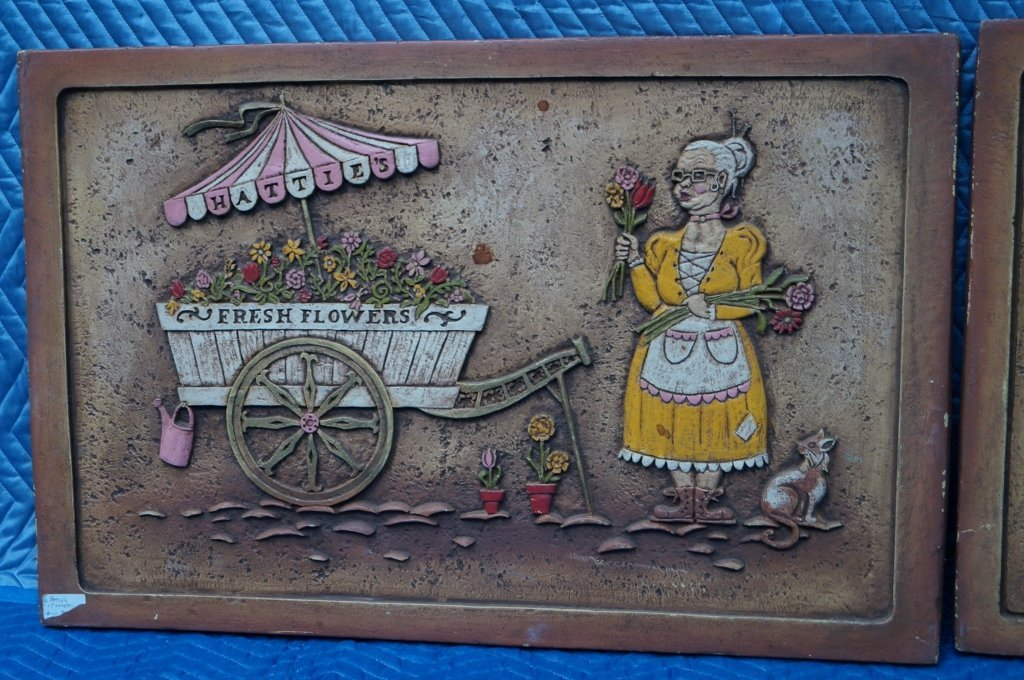 Vintage Foam Core Peddler Art Reliefs, LOT OF 2